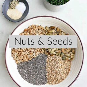 seeds in a mixing bowl with a text box in the middle of the image that says nuts & seeds