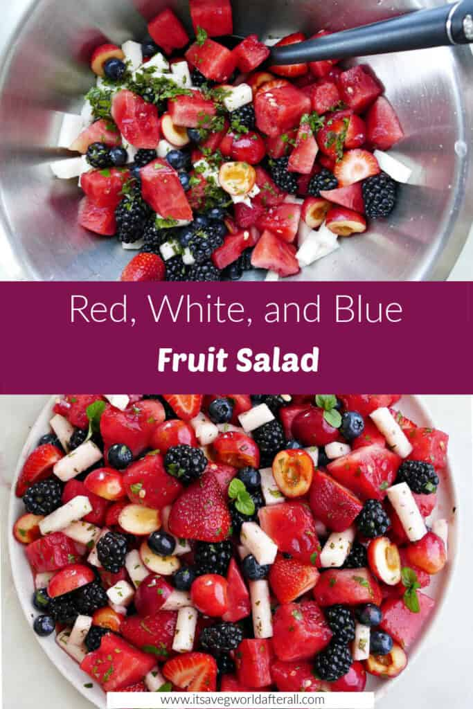 images of red, white, and blue fruit salad separated by text box with recipe name