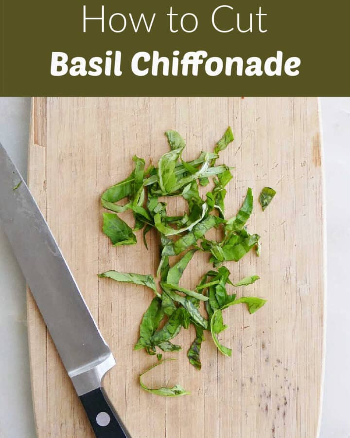 basil chiffonade on a cutting board with a knife and a green text box with post title