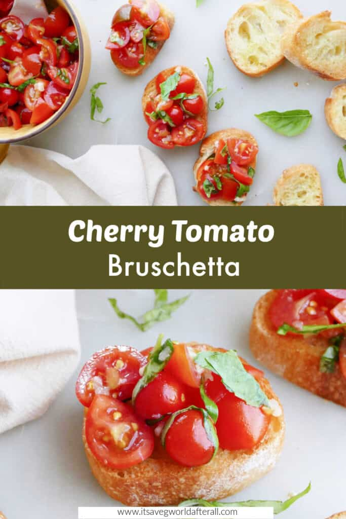 cherry tomato bruschetta slices with a text box with recipe title