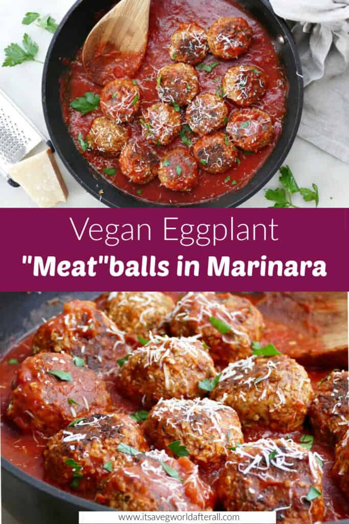 cooked eggplant meatballs in a skillet with tomato sauce separated by text box with recipe title