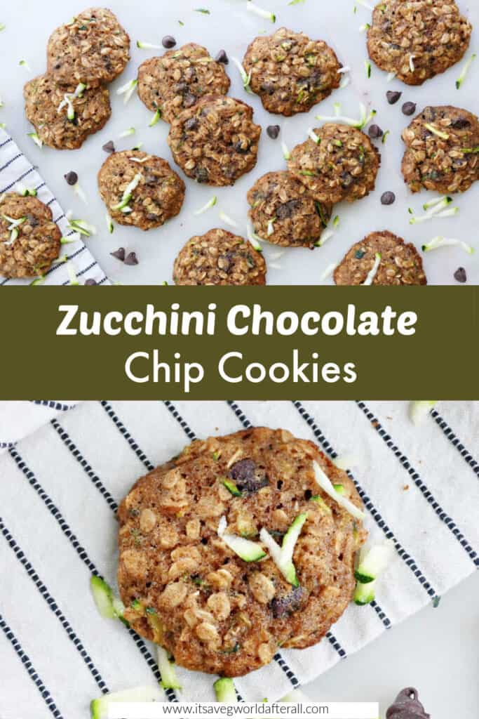 zucchini chocolate chip cookies separated by a text box with recipe name