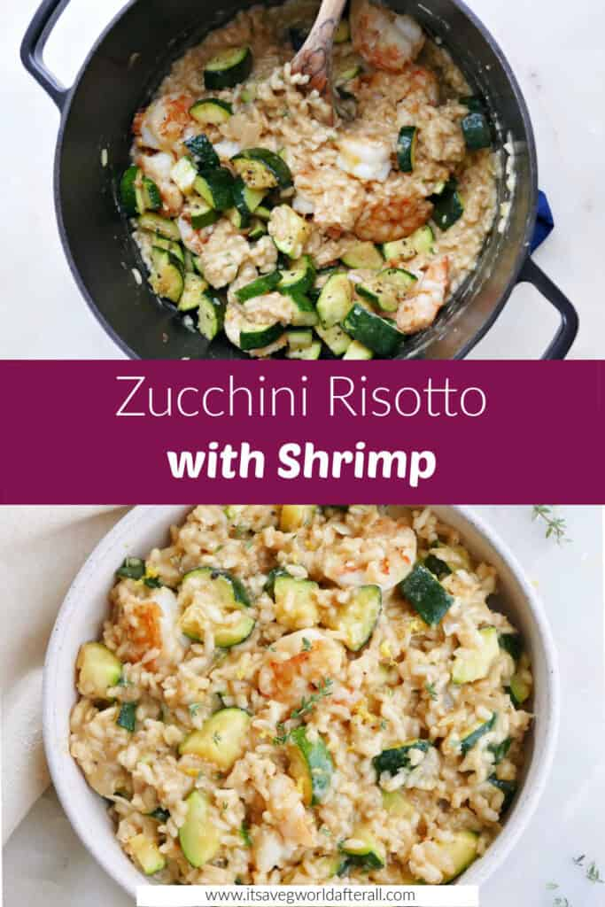 zucchini risotto cooking in a Dutch oven and in a serving dish separated by text box