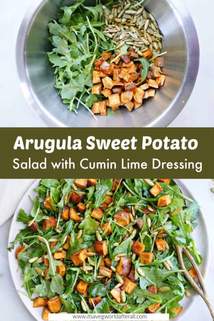 images of arugula sweet potato salad before and after being mixed separated by text box