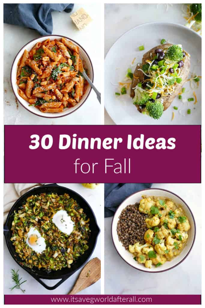 collage of healthy dinner recipes with a text box that has the post title